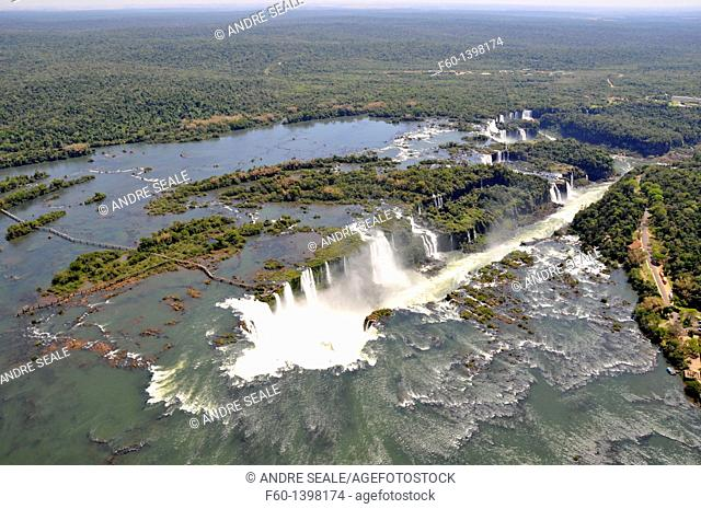 Aerial view of Iguassu Falls, Iguassu river, border between Brazil and Argentina
