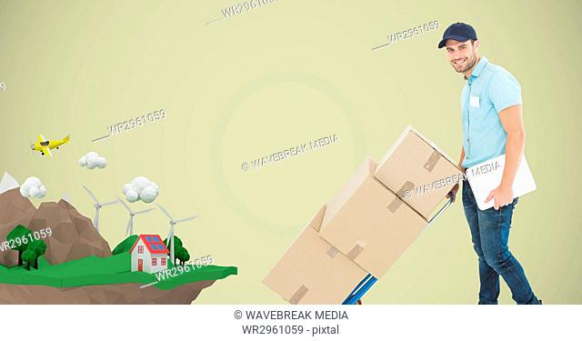 Delivery man pushing boxes on cart with house on mountain