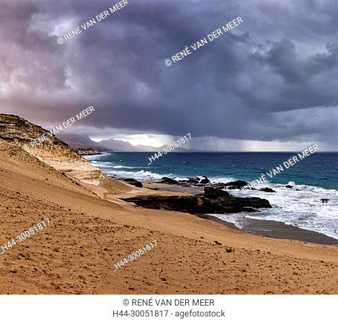 A local rainshower at the desert-like coast, La Pared, Spain Spain