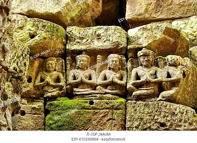detail of carvings in angkor thom,UNESCO world heritage,cambodia