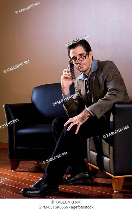 Portrait of stylish businessman on cell phone, sitting in leather armchair
