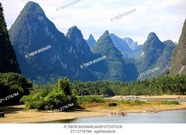 China, Guangxi, Xingping, Li River, karst landscape, limestone hills,