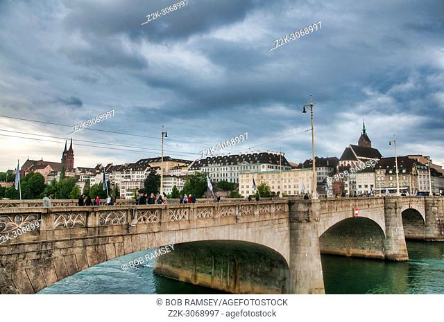 Cityscape from the bridge at Basel in Switzerland