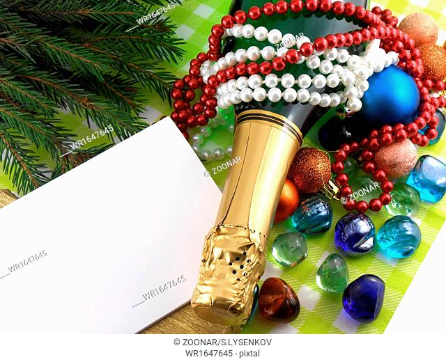 champagne bottle, diamonds and stones, christmas baubles, Merry Christmas and Happy New Year