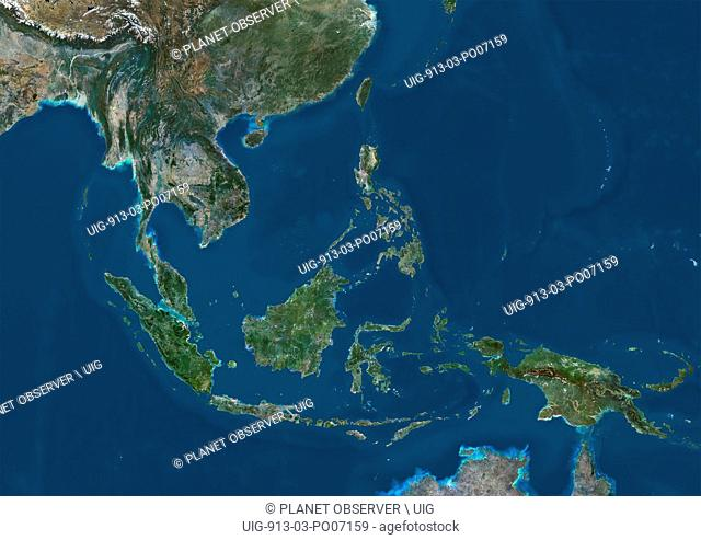 Satellite view of Southeast Asia. This image was compiled from data acquired by Landsat 7 & 8 satellites