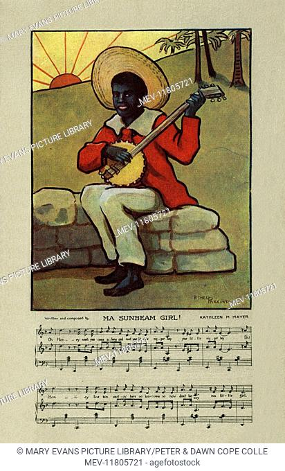 Traditional song with music. Image depicting a black minstrel playing a banjo. Artist: Ethel Parkinson