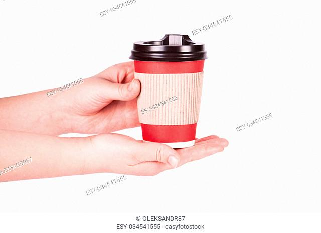 disposable cup of coffee in hand isolated on white background
