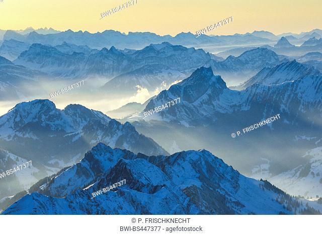 view from Saentis to Mattstock, Switzerland, Appenzell