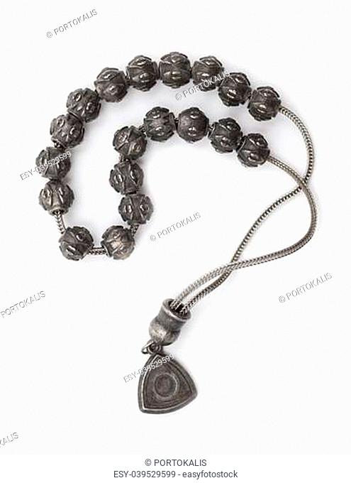 Rosary Beads made of iron on white background
