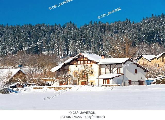 Snow in Zarate, Alava, Basque Country, Spain