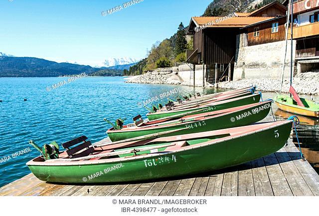 Lake Walchen, rowboats, Walchensee, Urfeld, Upper Bavaria, Bavaria, Germany