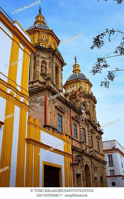 San Luis church facade in Seville of Spain at Macarena Sevilla