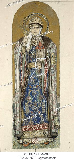 Saint Olga, Princess of Kiev (Study for frescos in the St Vladimir's Cathedral of Kiev), 1884-1889. Found in the collection of the State Tretyakov Gallery