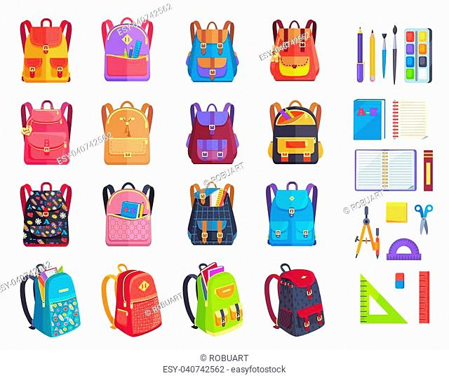 Colorful backpacks with patterns and metal locks and school supplies vector illustrations. Paint with brushes, convenient copybooks and stationery