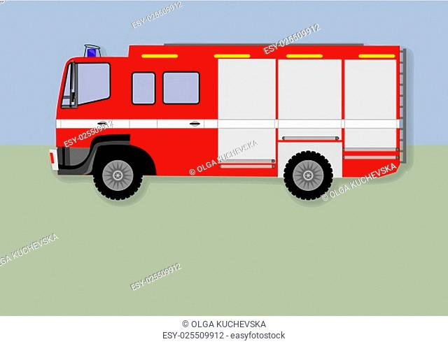 fire truck. red fire truck with white stripes
