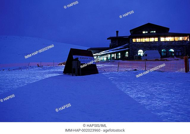 Ski Centre, central building of the ski centre, night, Kaimaktsalan, Edessa, Macedonia Central, Greece