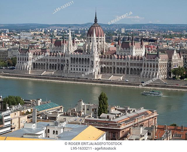 Parliament of Hungary on the Danube river, as seen from the castle of Buda, Budapest, Hungary