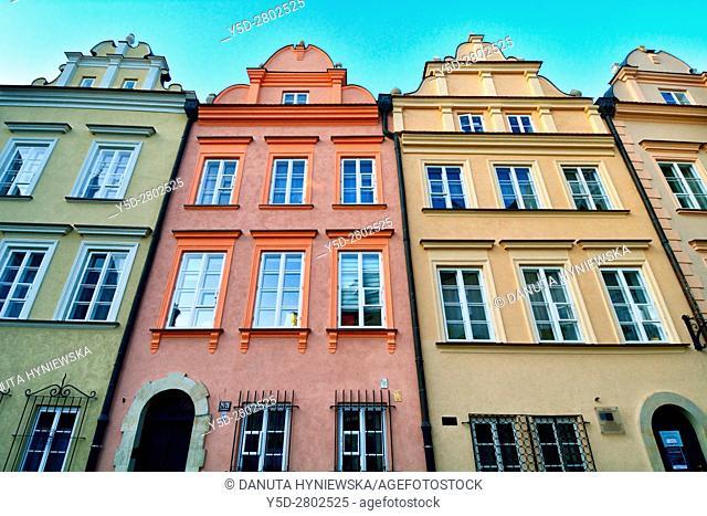 facades of townhouses, Kanonia Street, Kanonia square, Old Town - UNESCO World Heritage Site, Warsaw , Poland, Europe