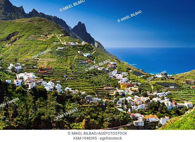 Taganaga village and cliffs. Santa Cruz de Tenerife, Tenerife, Canary Islands, Atlantic Ocean, Spain