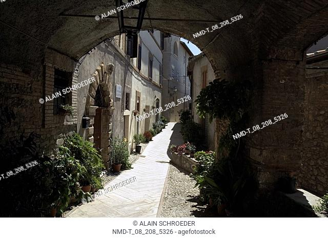 Buildings along an alley, Umbria, Italy