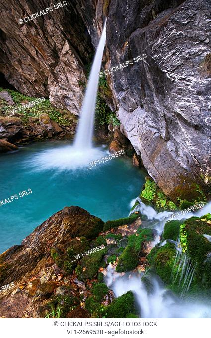 Italy, Piedmont, Cuneo District, Maira Valley- Pis Del Passet waterfall