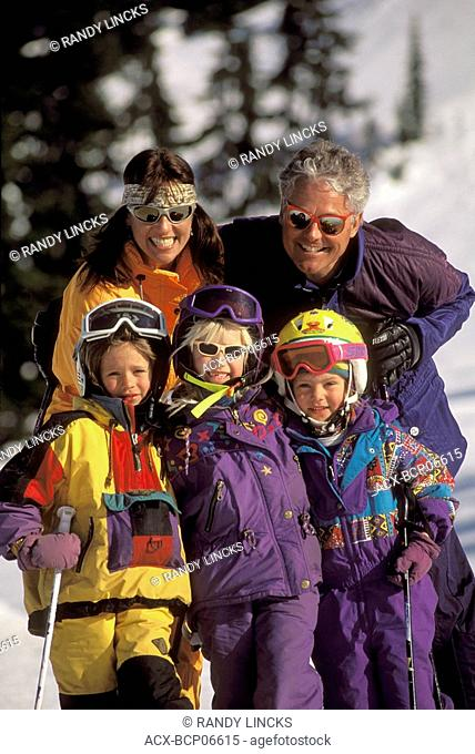 Family Skiing at Blackomb, Whistler, British Columbia, Canada