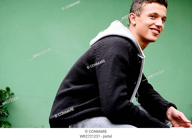 boy, attractive, smile, kneeling, teenage, male, 1