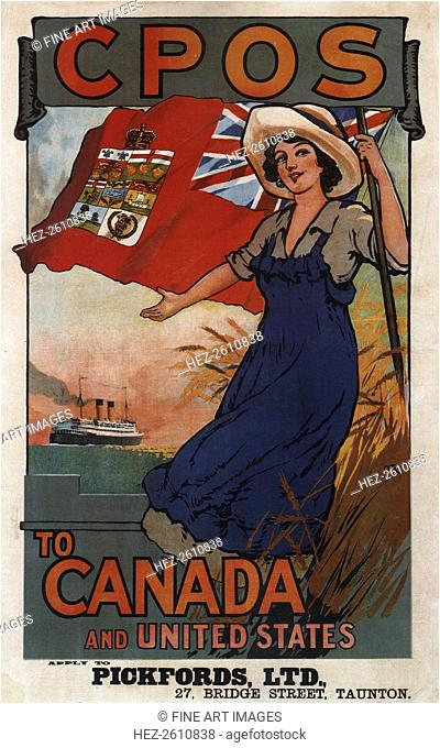 Canadian Pacific Line to Canada and United States, 1920. Artist: Rodmell, Harry Hudson (1896-1984)