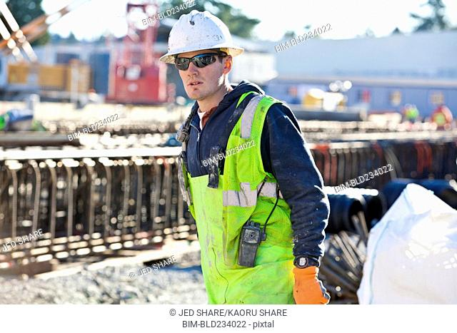 Caucasian worker at construction site