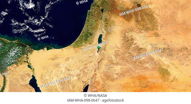 Satellite image showing the Sinai and Negev regios and the shrinking of the Dead Sea in Israel. 2016