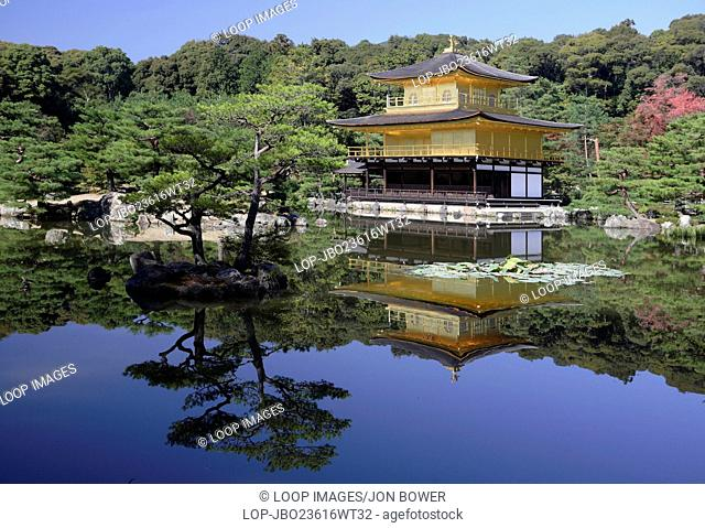 The Golden Pavilion at the Kinkakuji Temple in Kyoto in Japan