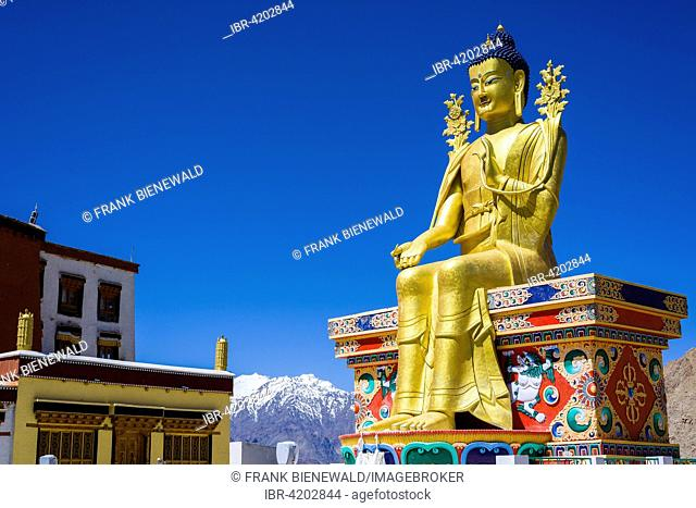 A huge statue of Maitreya, the future Buddha, at Likir Gompa monastery, Likir, Jammu and Kashmir, India