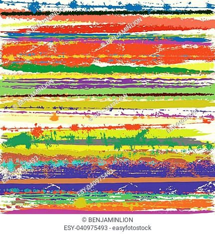 Grunge Bright color striped background for your design. Colorfull paint brush festive texture. EPS10 vector