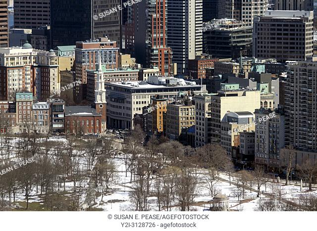 A winter view of a portion of Boston Common and surrounding architecture, Boston, Massachusetts, United States