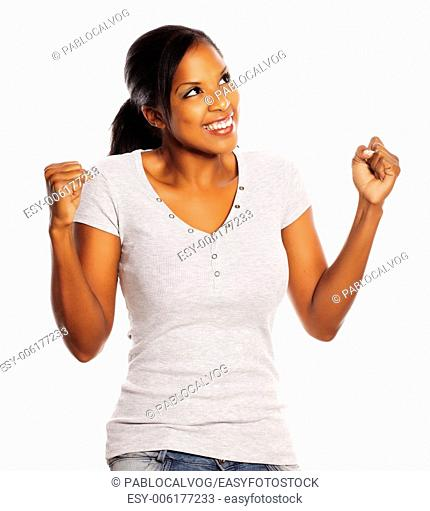 Portrait of a isolated happy young pretty black woman