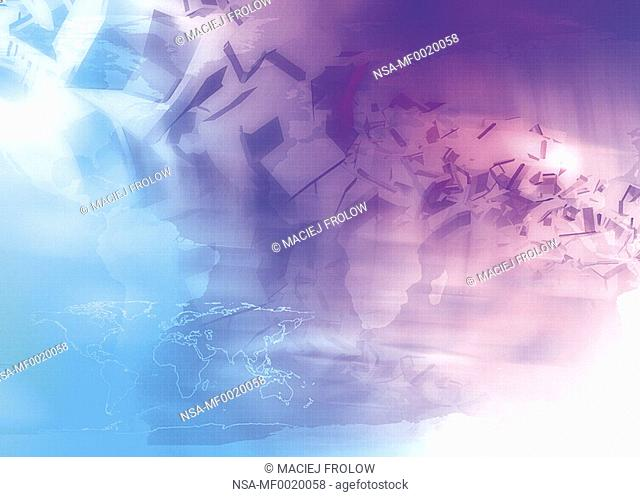 Digital composition of Purple and blue cubes and a world map