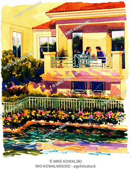 Couple Dining on Veranda