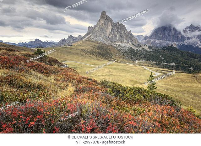 Aunumn view on the Giau pass between San Vito di Cadore and Colle Santa Lucia, Dolomites, Belluno, Veneto, Italy