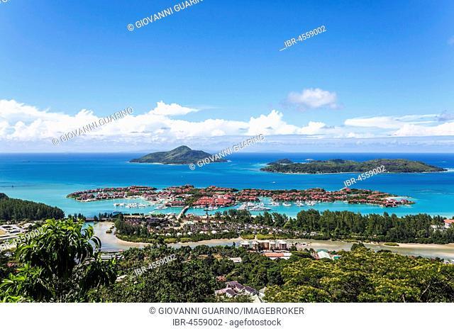 East cost with Resort Eden Island, Ile au Cerf, Ste Anne Marine National Park, Mahe Island, Seychelles