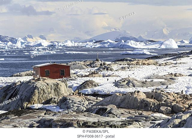 Port Lockroy Antarctic base. View over the British Antarctic base at Port Lockroy, British Antarctic Territory, Antarctic Peninsula