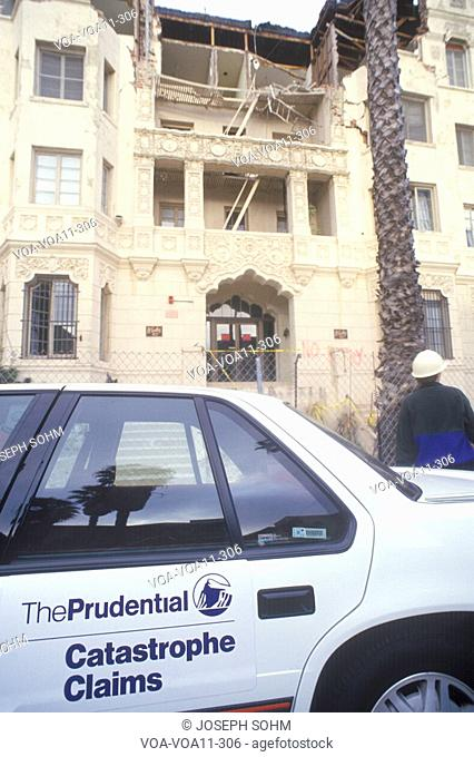 A Prudential Insurance car outside of an old apartment building in Santa Monica which was condemned after the Northridge earthquake in 1994