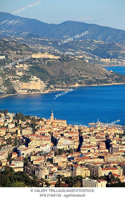 The city of Menton, Alpes-Maritimes, French Riviera, Côte d'Azur, Provence-Alpes-Côte d'Azur, France