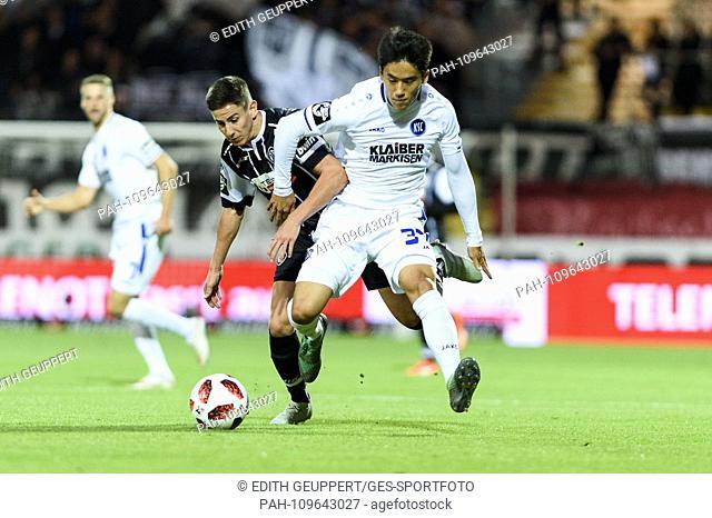 duels, duel between Nicolas Sessa (VfR Aalen) and Kyoung-Rok Choi (KSC). GES / Soccer / 3. Liga: VfR Aalen - Karlsruher SC, 26.09