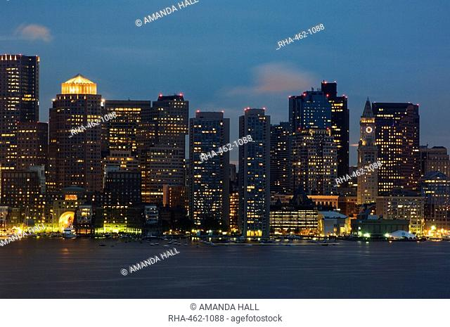 The skyline of the Financial District across Boston Harbor, Boston, Massachusetts, USA