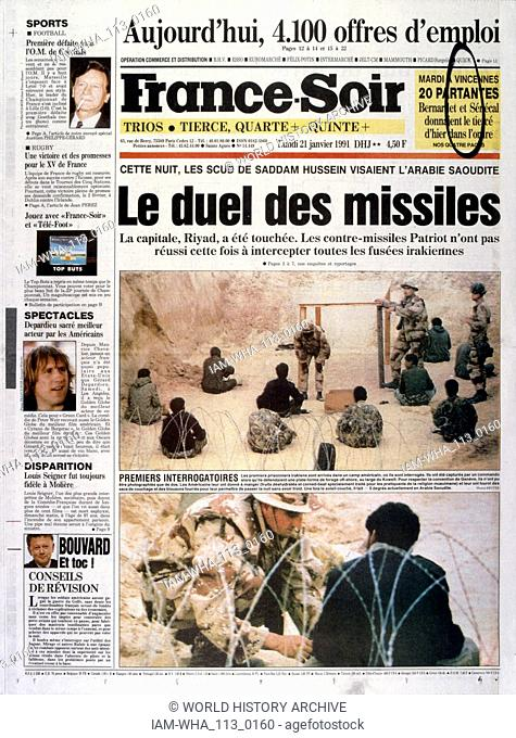 Headline in 'France-Soir' a French newspaper, 21st January 1991, concerning escalating action in the Gulf War (2 August 1990 - 28 February 1991)