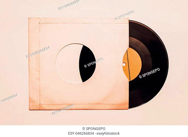 Blank vinyl album cover sleeve. vintage concept