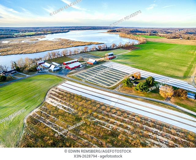 Aerial view of Swann Farm and the Patuxent River in Calvert County, Maryland