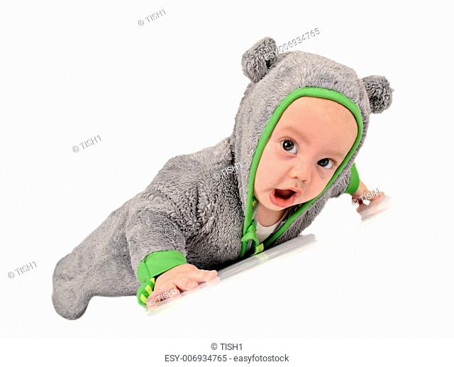Cute six month old baby boy on white background