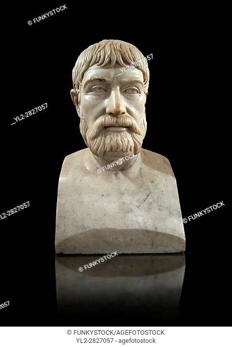 Roman marble sculpture bust of Pindar, 1 130-140 AD from an original mid 5th century BC Hellanistic Greek original, inv 6144, Museum of Archaeology, Italy