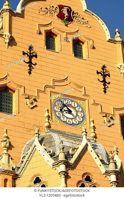 Art Nouveau Sezession City Hall designed by Lechner Ödön with Zolnay tiles, Hungary Kecskemét